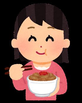 牛丼を食べる女性のイラスト