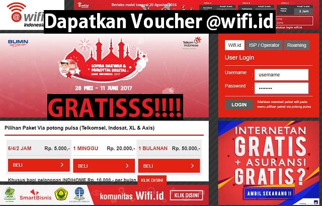 Cara mendapatkan voucher (akun) @wifi.id GRATIS 1