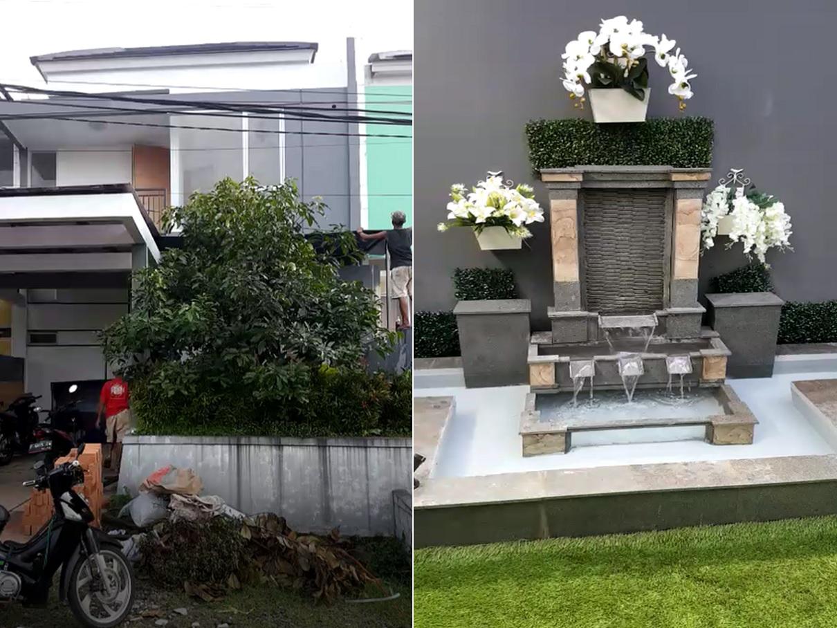 Hasil proyek renovasi Ringan rumah 2 Lantai, proyek Landscape, dan kanopi rumah milik Bpk Henu Pramathana di Cluster Panorama Pamoyanan Hijau,Pamoyanan, Bogor, Tahun 2017