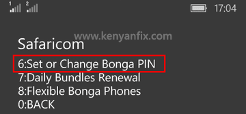 change bonga pin