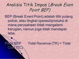 titik keseimbangan antara jumlah hasil penjualan dengna jumlah biaya produksi Pengertian Titik pulang pokok (TPP)