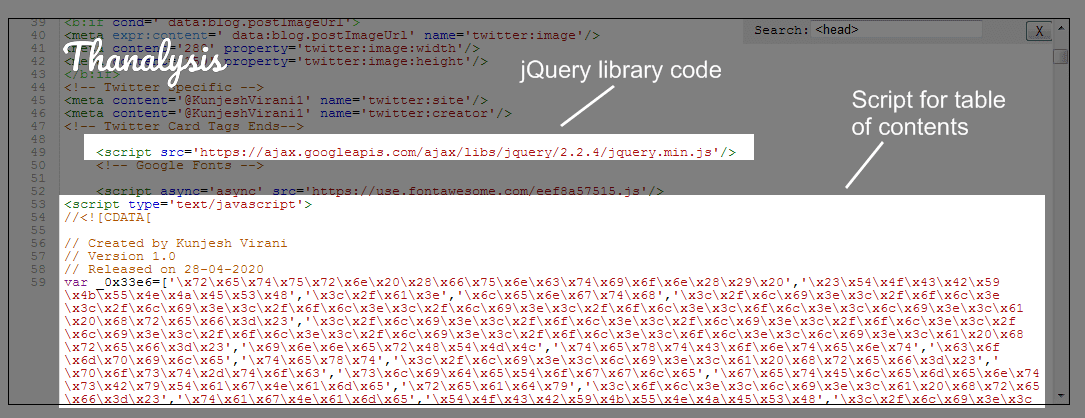 Code for TOC below the jQuery library code
