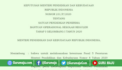 KEPMENDIKBUD Nomor 231/P/2020