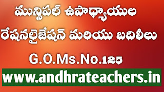 Re apportionment & Transfers of all categories of Teachers working in the Urban Local Bodies under Municipal Management in the State GO.125 Dt:08.10.21
