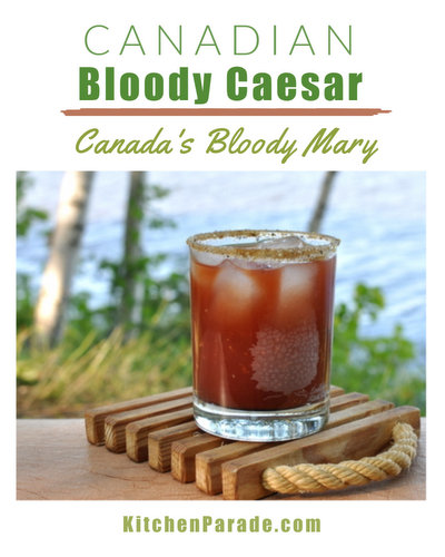 Bloody Caesar, Canada's Bloody Mary ♥ KitchenParade.com, made with Clamato instead of tomato juice.
