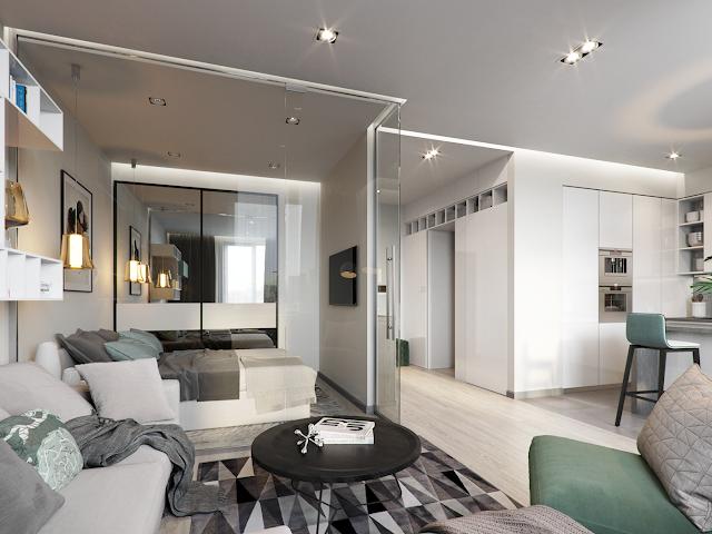Pereti de sticla pentru dormitor in garsoniera