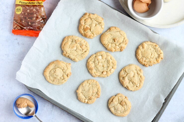 Peanut Butter Chip Cookies just out of the oven