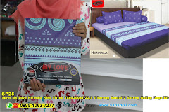 Sprei My Love Nirmala King Fitted 180x200xT.22,5 2 Sarung Bantal 2 Sarung Guling Ungu Biru Ornamen Batik Garis Dewasa