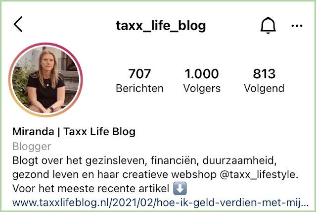 1000 volgers op instagram