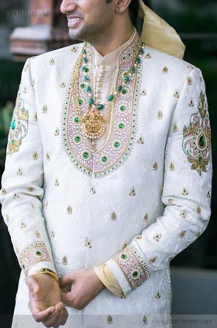 Emerald Beads Set with Peacock Lakshmi