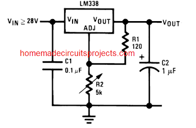 simple LM338 IC adjustable voltage power supply circuit