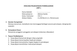 SK KD, Prota, Promes, KKM, Silabus, RPP Bahasa Sunda Kelas 7, 8, 9 SMP MTs