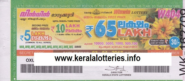 Official Kerala lottery result of Win Win (W-404) on 03 April 2017