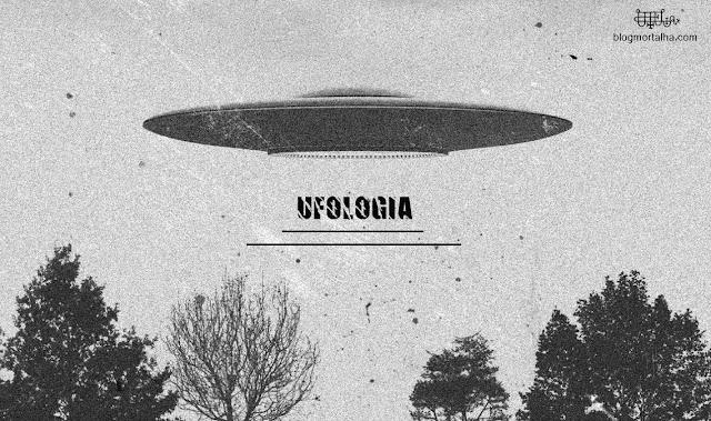 Imagem ilustrativa de ovni, em formato de disco, repousando no céu.