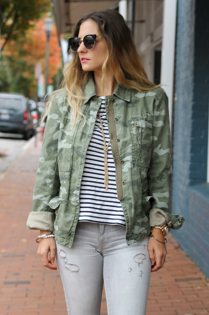 Camo Print Jacket with Striped Top