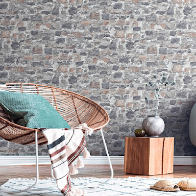 Papel pintado piedra gris, decoración minimalista