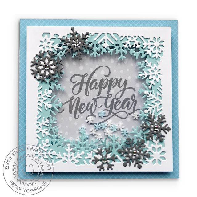 Sunny Studio Stamps: Snowflake Happy New Year Shaker Card using Layered Snowflake Frame dies & Season's Greetings stamps)