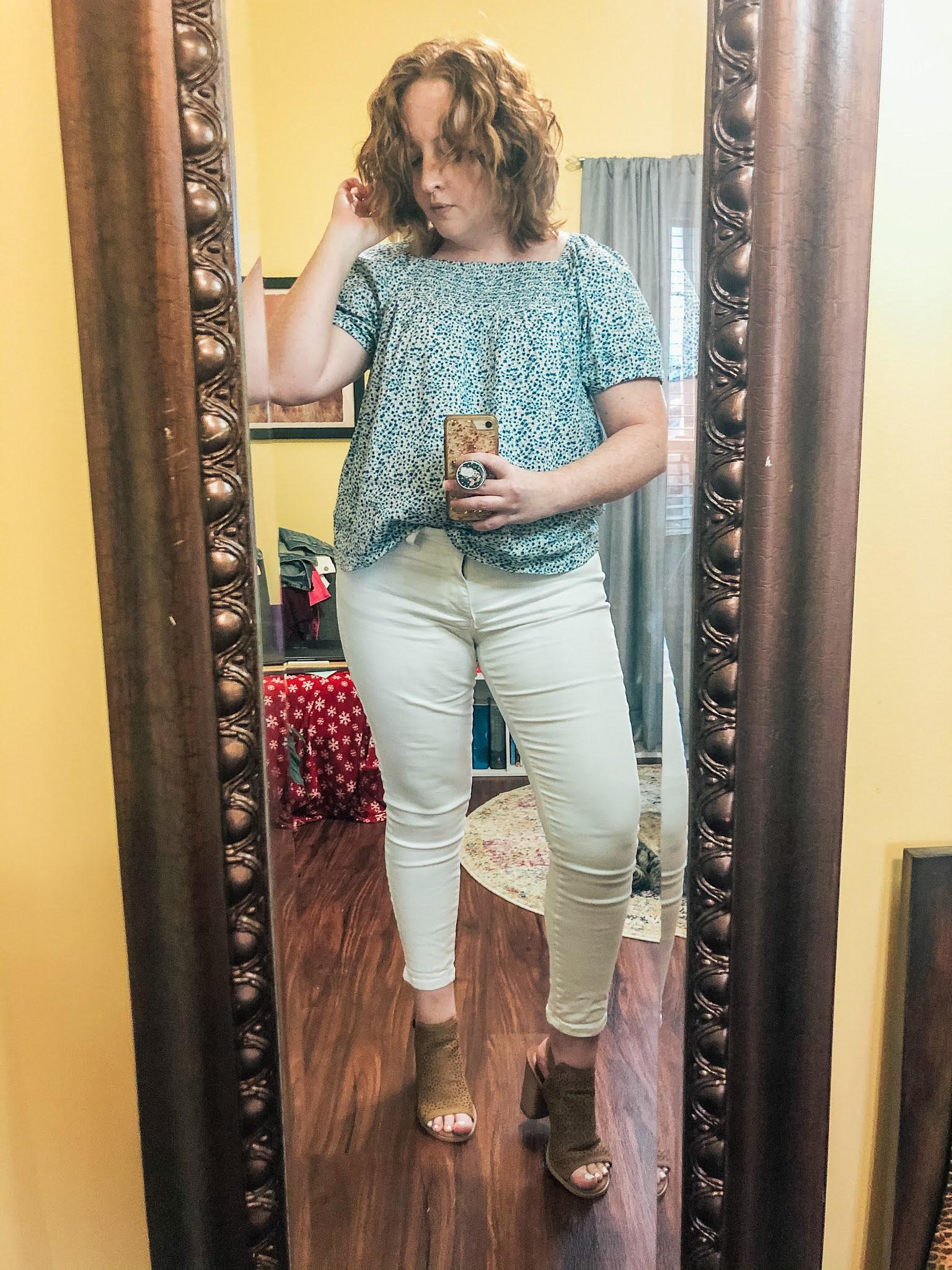 blue-floral-smocked-top-white-jeans-peeptoe-booties