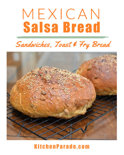 Mexican Salsa Bread ♥ KitchenParade.com, easy homemade bread with a kick, just salsa and spices.