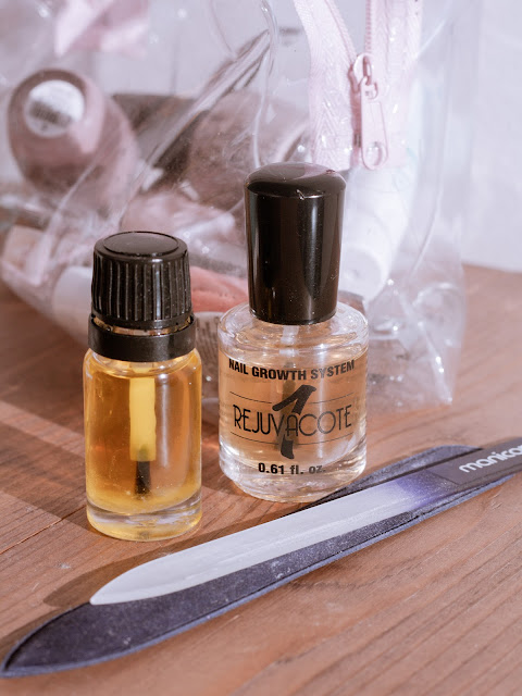 Cuticle oil, glass nail file, and nail hardener