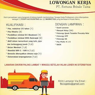 Staff Accounting dan Marketing di PT Fortuna Brindo Tama