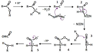 mecanismo de reação para a produção de aminas