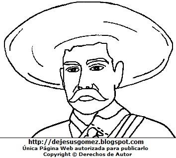 Imagen Emiliano Zapata con sombrero para colorear pintar imprimir. Dibujo de Emiliano Zapata hecho por Jesus Gómez