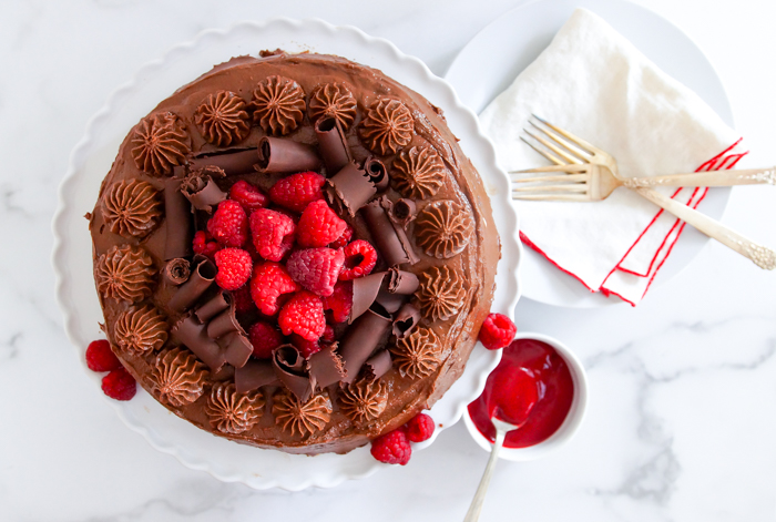 Chocolate Mousse Cake with Raspberry Sauce