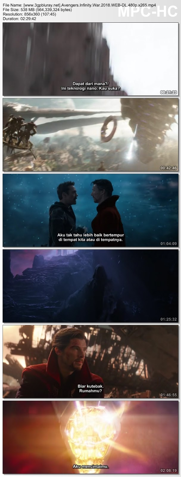 Screenshots Download Film Gratis Hardsub Indo Avengers: Infinity War (2018) WEB-DL 480p MP4 Subtitle Bahasa Indonesia 3GP