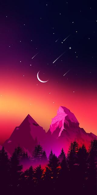 disegno, cielo stellato, montagne, alberi, bosco