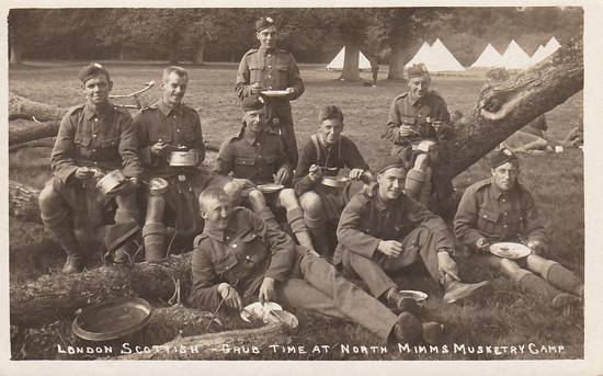 Photograph of meal time for the London Scottish at the North Mimms musketry camp - image from the Peter Miller collection