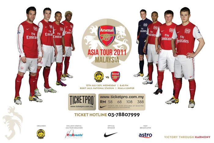 malaysia vs arsenal, malaysia vs arsenal julai 2011, info ticket malaysia vs arsenal 2011, ticket pro