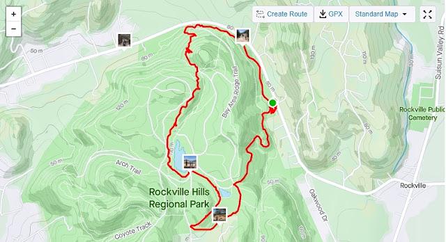 Rockville Hills Regional Park 3 mile route
