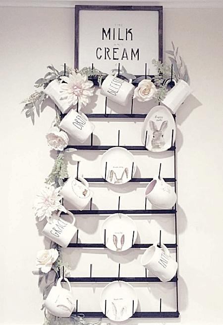 Milk and cream sign with mug rack and rae dunn