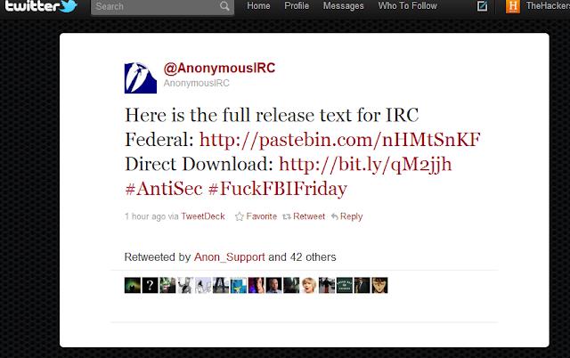 Anonymous Hacks FBI Contractors IRC Federal