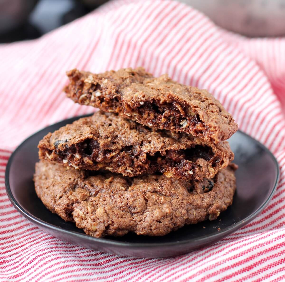 Chocolate Cherry Oatmeal Cookies with chocolate chips
