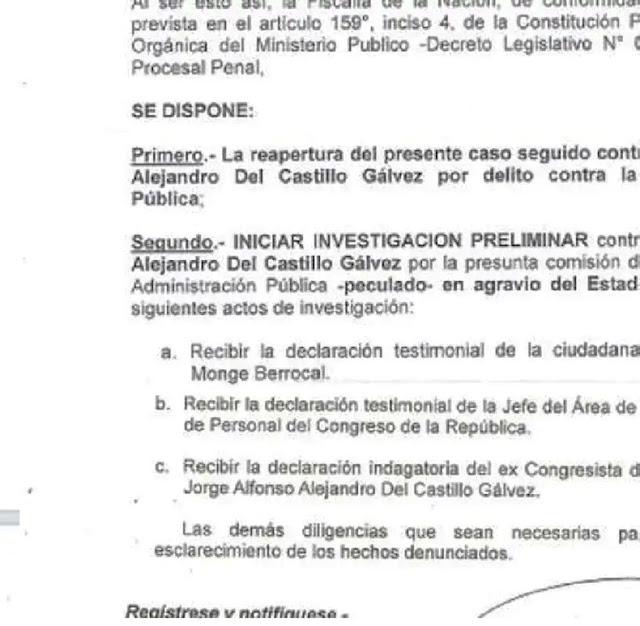 Investigación preliminar contra Jorge Del Castillo