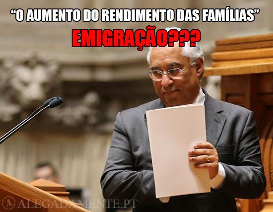 """Alegadamente: Imagem de António Costa - """"o aumento do rendimento das famílias"""" EMIGRAÇÃO???"""