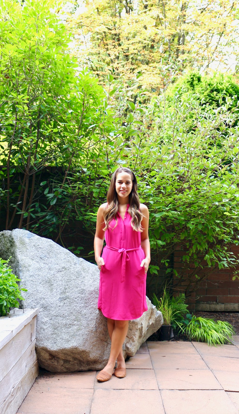 Jules in Flats - Hot Pink Midi Shirt Dress (Business Casual Spring Workwear on a Budget)