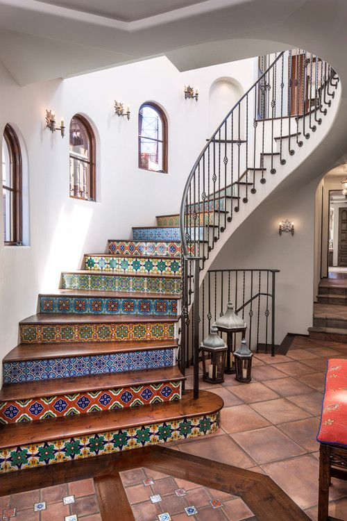 beautiful tile design on staircase
