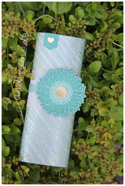 Banderolen-Verpackung selbstgemacht mit Sonnenblumen Deko
