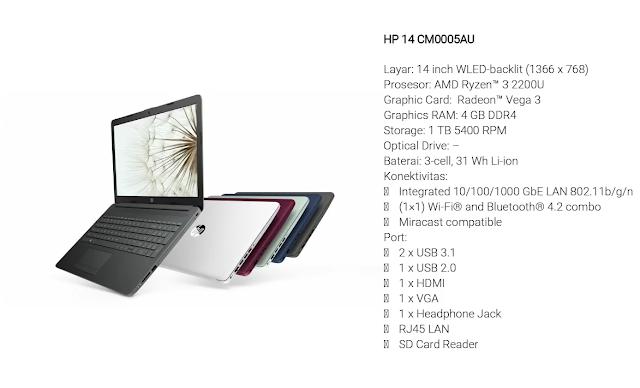 HP 14 CM0005AU merupakan laptop mahasiswa teknik 2018
