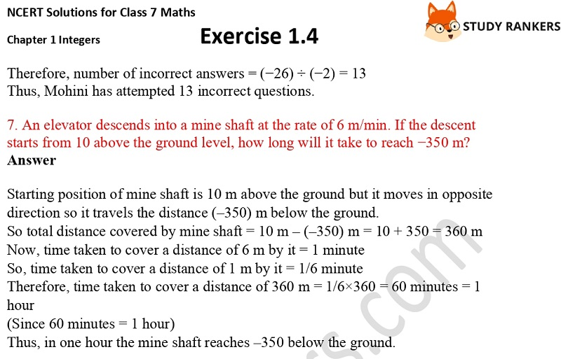 NCERT Solutions for Class 7 Maths Ch 1 Integers Exercise 1.4 5