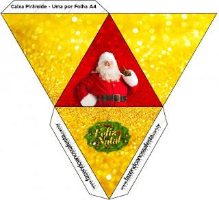 Caja con forma de pirámide de Santa Claus en Rojo y Dorado.