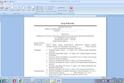 Contoh sk bimbingan konseling sekolah dan madrasah