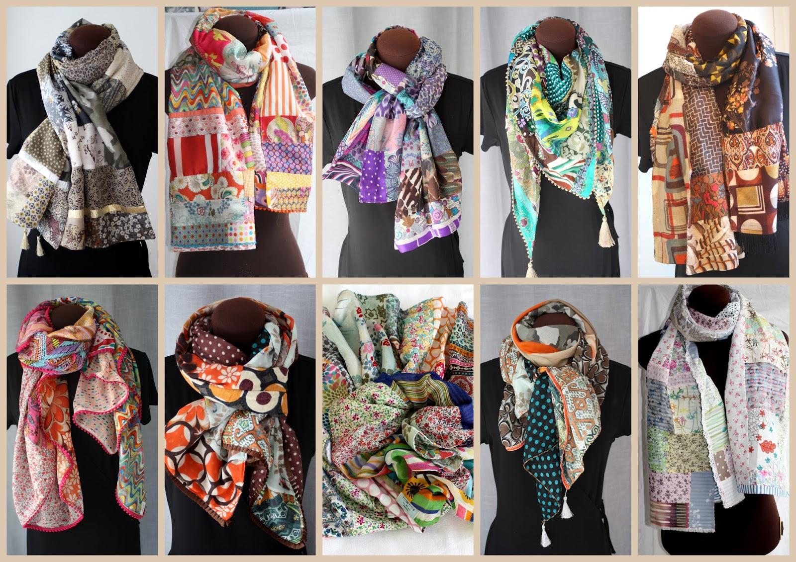 soie, voile de coton, tissus vintage ou recyclés, coloris pétants ou  camaïeux subtils, écharpes, carrés ou pointes ... chaque modèle est unique. c5d9431a12a
