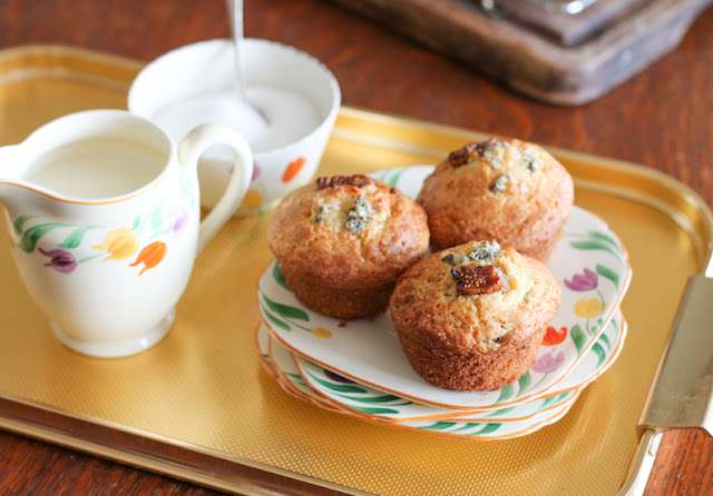 Food Lust People Love: Not quite savory and not quite sweet, these fig and Stilton muffins are the perfect marriage of fruit and cheese in a fluffy quick bread. Serve for breakfast, tea time or as an accompaniment to a light lunch. If you don't have access to Stilton, substitute your favorite strong flavored blue cheese that crumbles well. The sweet sticky figs are the perfect complement to a strong blue cheese.