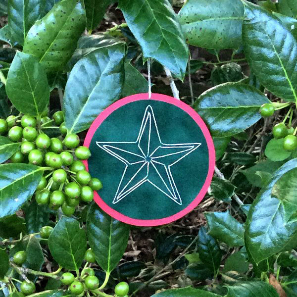 embroidered paper star ornament hanging on holly bush with green berries