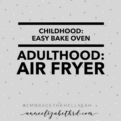 Quote about easy bake ovens and air fryers in black letters on a grey background with white polka dots