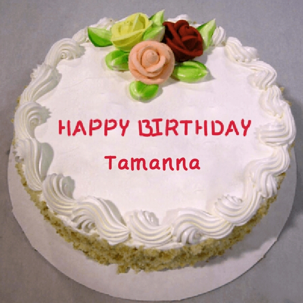 Birthday Cake Images With Name Tarun : Birthday Cake With Floral Decoration - Happy Birthday Tamanna